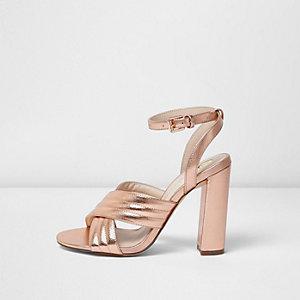 Rose gold cross strappy heels