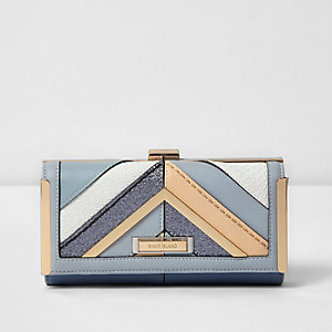 Blue glitter panel clip top purse