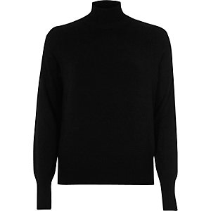 Black knit turtleneck sweater