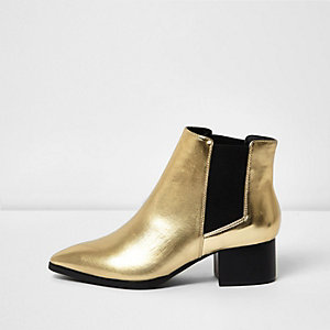 Gold block heel Chelsea boots