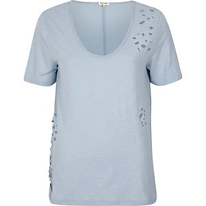 Light blue distressed V-neck T-shirt