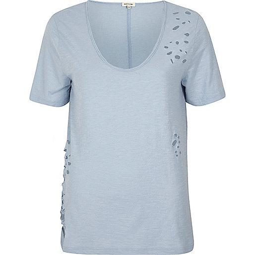 Light blue distressed V-neck T-shirt
