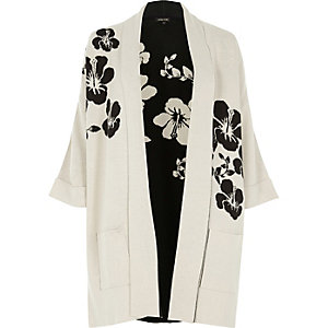 White and black flower knit cardigan