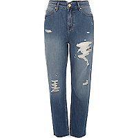 Jeans im Used-Look in mittelblauer Waschung