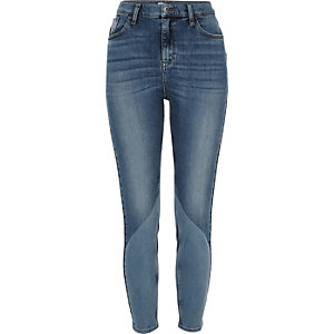 Mid blue wash Lori panel jeans