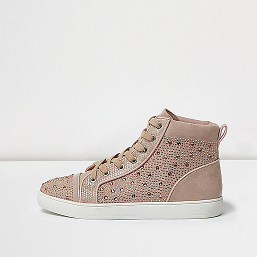 Pink diamanté panel hi tops