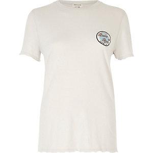 Grey badge print nibbled sleeve T-shirt