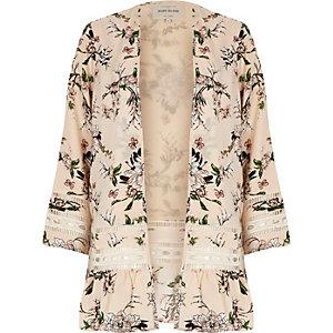 Spitzen-Kimono in Creme mit Blumenmuster