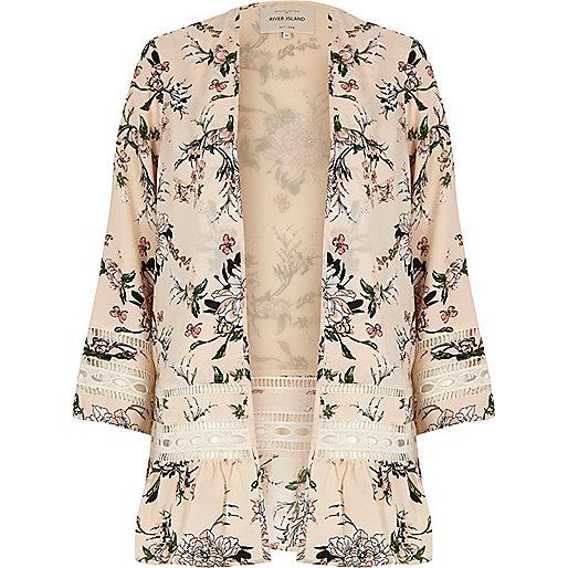 Cream floral print lace kimono