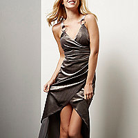 Silver velvet ruched wrap dress