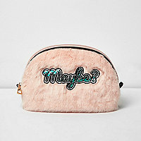 Baby pink 'maybe' faux fur make-up bag