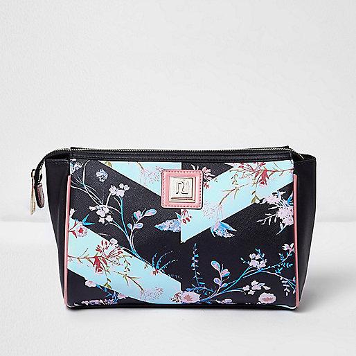 Schwarze Makeup-Tasche mit Blumenmuster