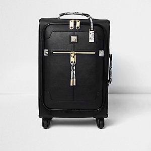 Zwarte koffer met slangenleerprint