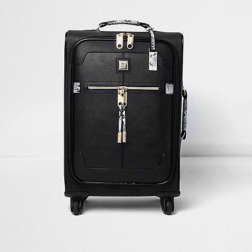 Black snake print wheelie suitcase
