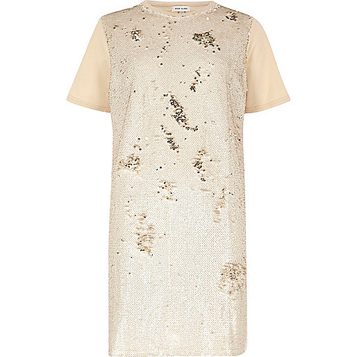 T-Shirt-Kleid in Oversize mit Pailletten in Nude