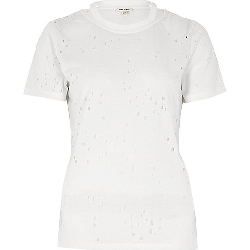 White strap neck holey T-shirt