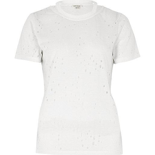 T-shirt blanc avec encolure à lanières et découpes