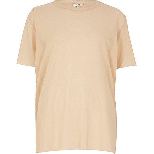 Oversized-T-Shirt aus Netzstoff