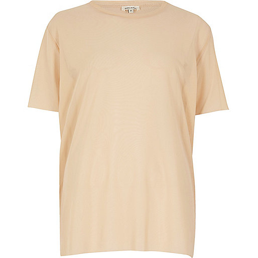 Nude oversized mesh T-shirt
