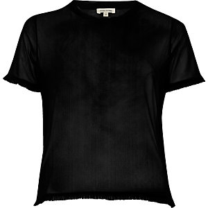Black mesh frill trim T-shirt