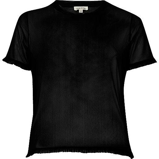 Schwarzes Mesh-T-Shirt mit Rüschensaum