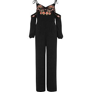 Zwarte geborduurde jumpsuit met wijde pijpen