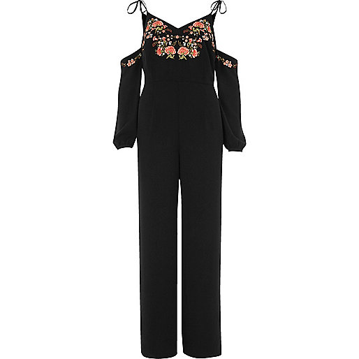 Black embroidered wide leg jumpsuit