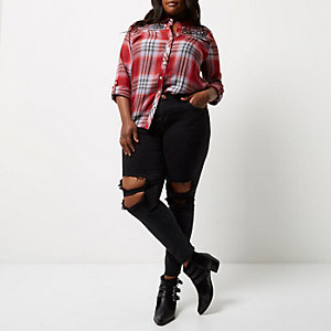 Plus red check embroidered western shirt