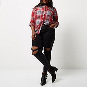 Chemise Plus à carreaux rouge brodée style western