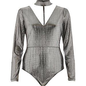 Silver metallic choker plunge bodysuit