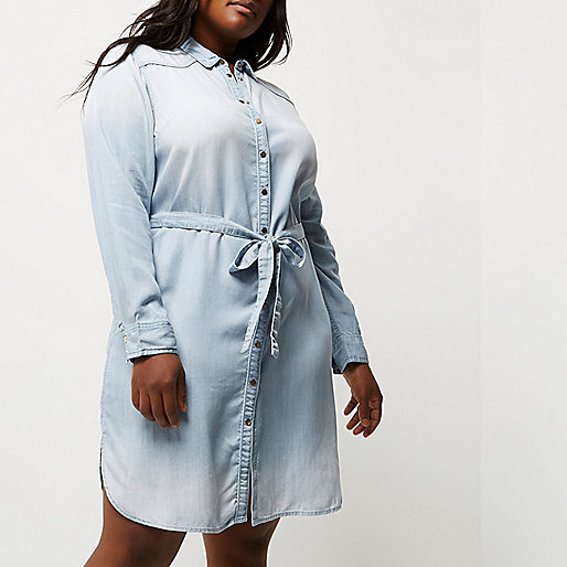 Plus light blue tencel shirt dress
