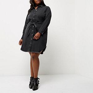 Plus – Schwarzes Jeans-Blusenkleid zum Binden