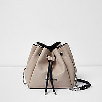 Cream panel drawstring duffel bag