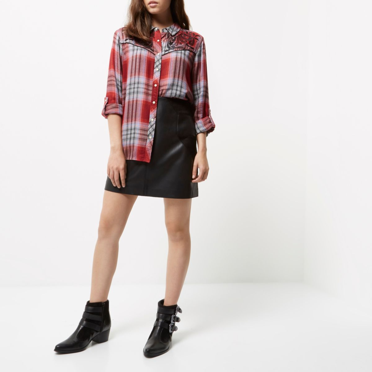 Petite red check embroidered western shirt