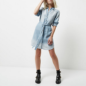 Petite light blue faded tie waist shirt dress