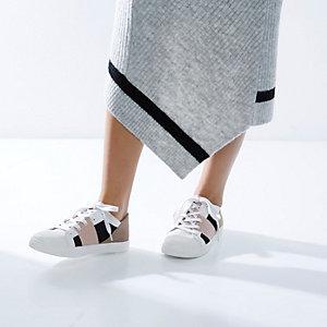RI Studio beige panel lace-up sneakers
