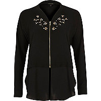Black embellished woven hem bomber jacket