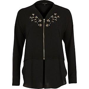 Black embellished woven hem bomber jacket