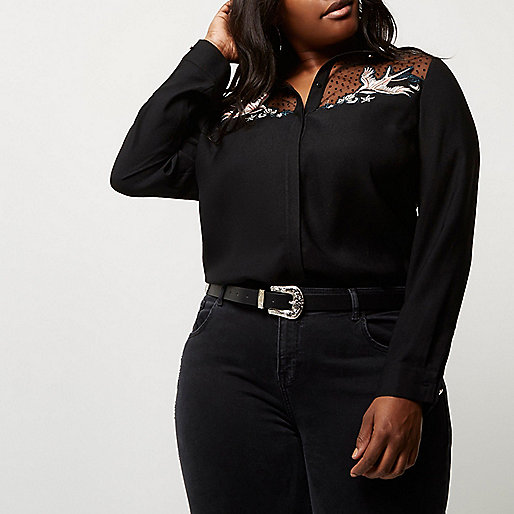 Plus black swallow embroidered shirt