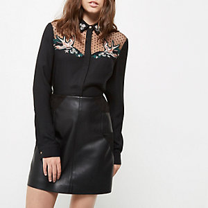 Petite black swallow embroidered mesh shirt