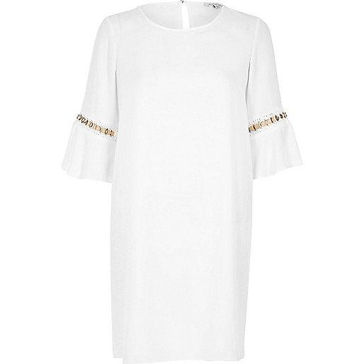 Cream bell sleeve swing dress