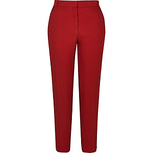 Red slim fit woven pants