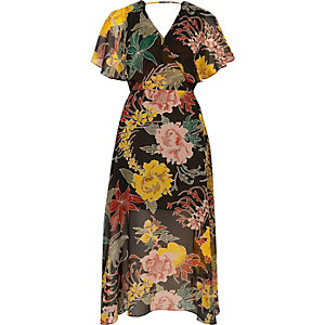 Black floral print chiffon cape midi dress