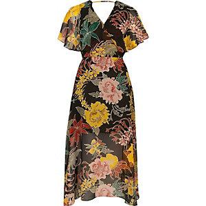 Robe mi-longue en mousseline noire à imprimé floral