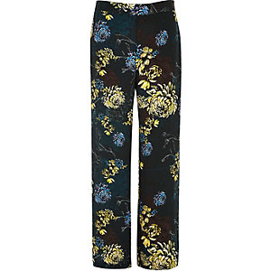 Blue floral print wide leg trousers