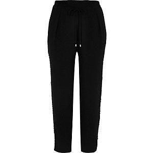 Black soft woven stripe drawstring trousers