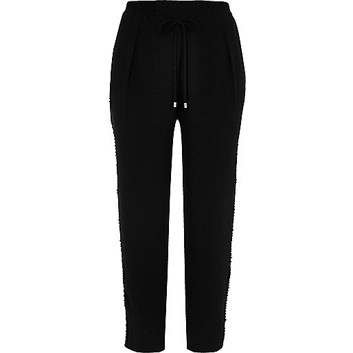 Black soft woven stripe drawstring trousers