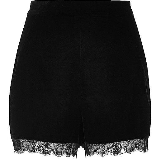 Black velvet lace hem cocktail shorts