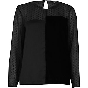 Black chiffon block panel top