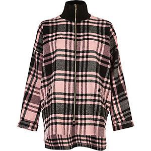 Pink check zip turtleneck shacket